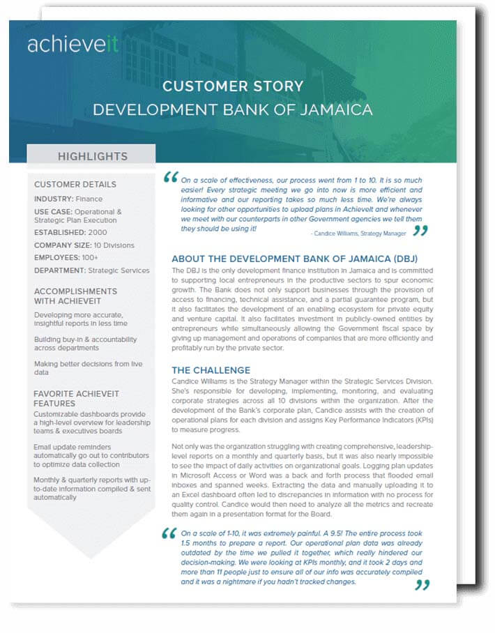 AchieveIt Case Study - Development Bank of Jamaica