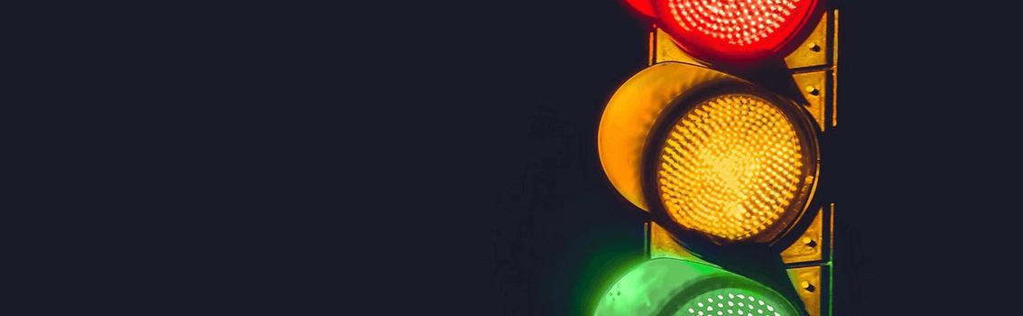 traffic signal at night