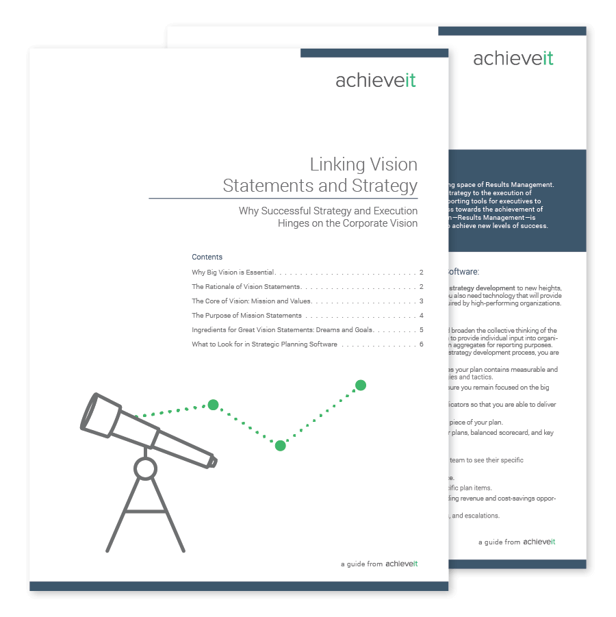 Guide Linking Vision Statements Strategy and execution